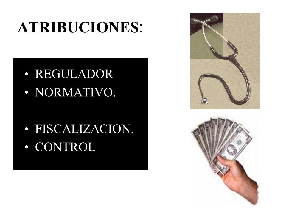ATRIBUCIONES : REGULADOR NORMATIVO. FISCALIZACION. CONTROL