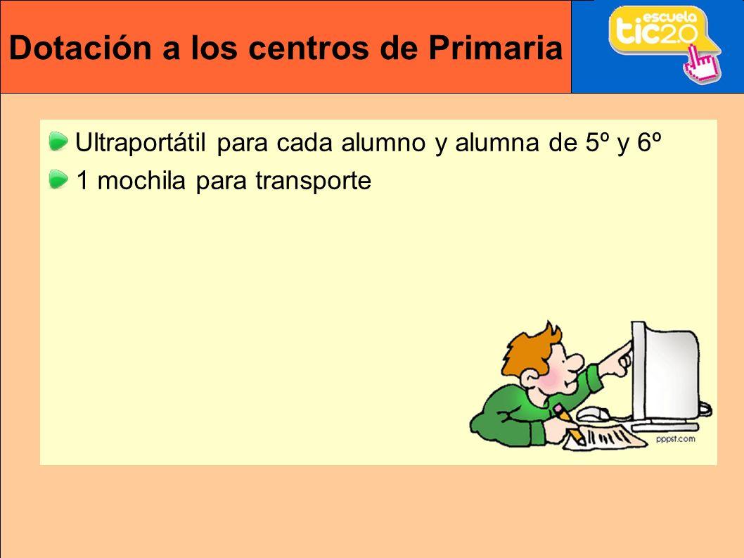 Dotación a los centros de Primaria Ultraportátil para cada alumno y alumna de 5º y 6º 1 mochila para transporte