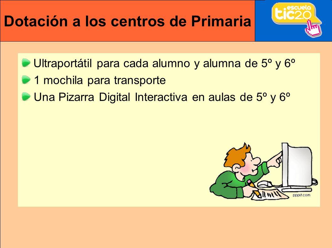 Dotación a los centros de Primaria Ultraportátil para cada alumno y alumna de 5º y 6º 1 mochila para transporte Una Pizarra Digital Interactiva en aulas de 5º y 6º