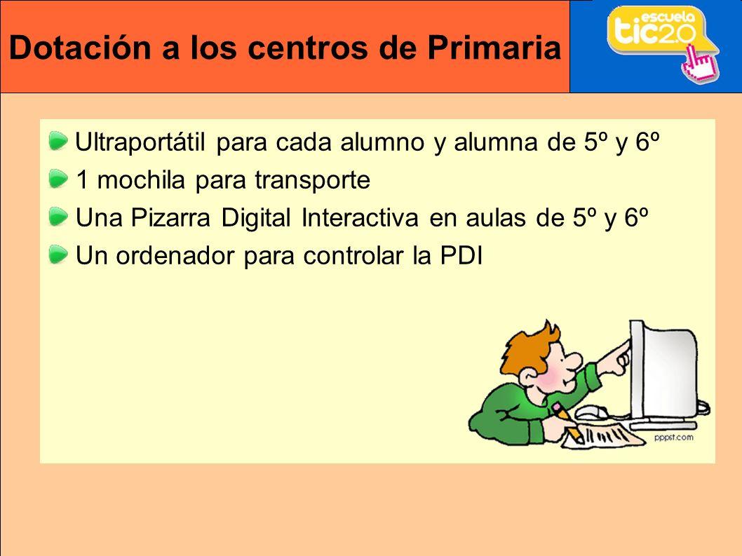 Dotación a los centros de Primaria Ultraportátil para cada alumno y alumna de 5º y 6º 1 mochila para transporte Una Pizarra Digital Interactiva en aulas de 5º y 6º Un ordenador para controlar la PDI