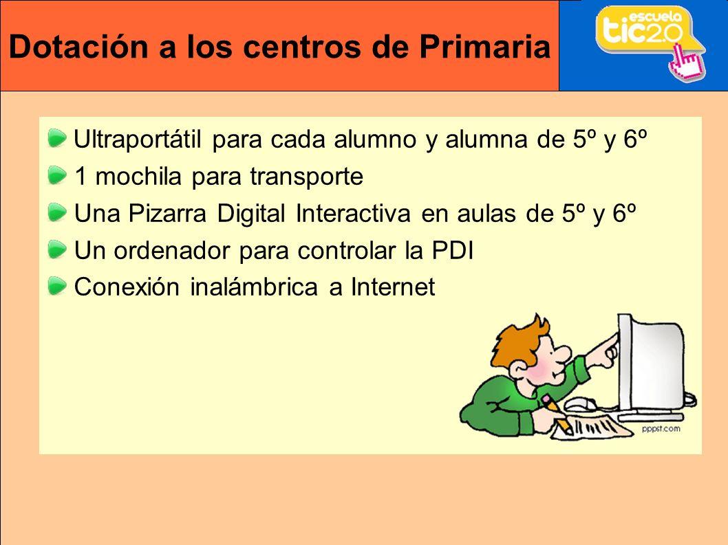 Dotación a los centros de Primaria Ultraportátil para cada alumno y alumna de 5º y 6º 1 mochila para transporte Una Pizarra Digital Interactiva en aulas de 5º y 6º Un ordenador para controlar la PDI Conexión inalámbrica a Internet