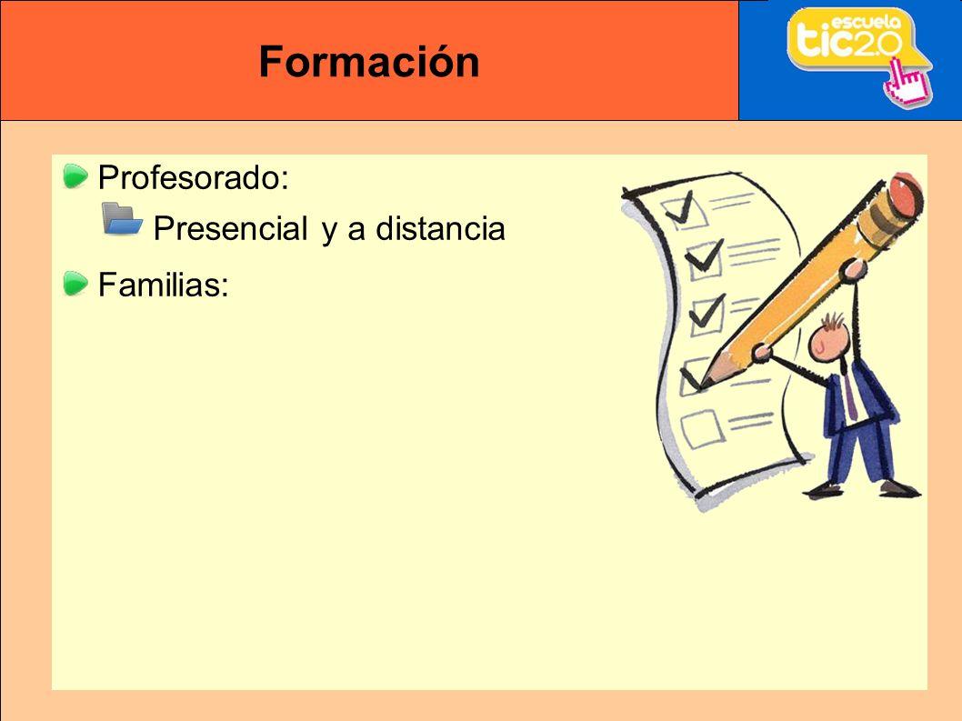 Formación Profesorado: Presencial y a distancia Familias: