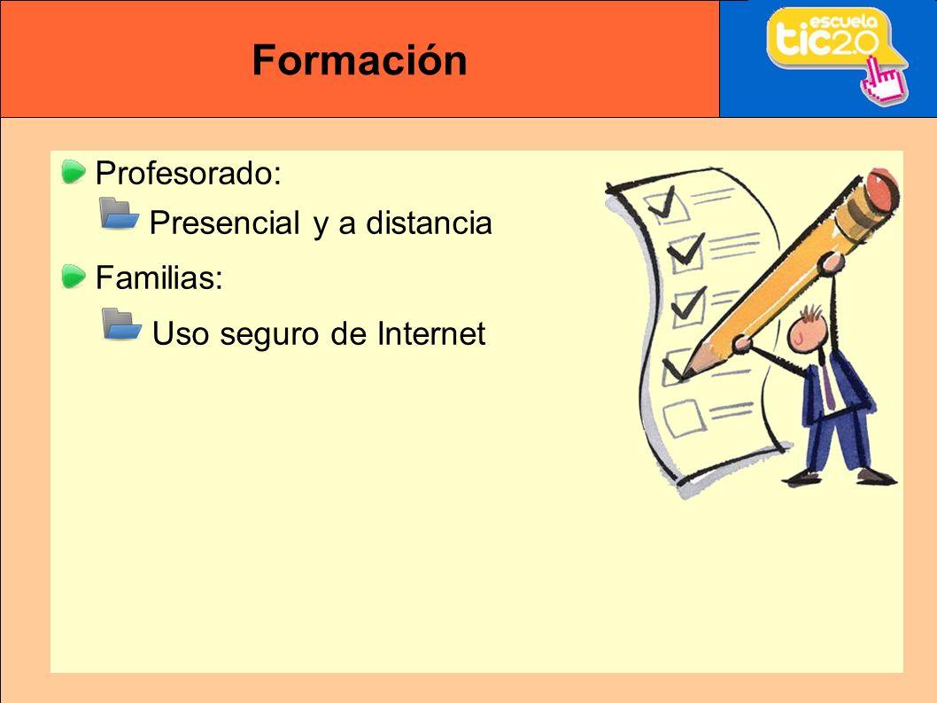 Formación Profesorado: Presencial y a distancia Familias: Uso seguro de Internet