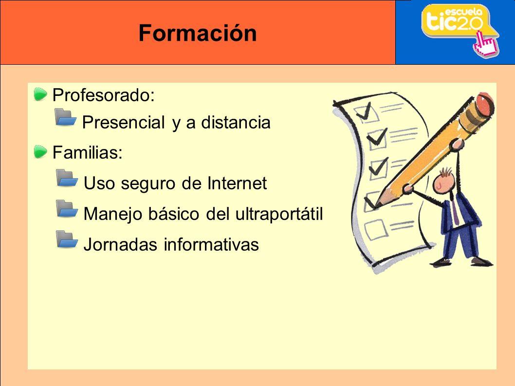 Formación Profesorado: Presencial y a distancia Familias: Uso seguro de Internet Manejo básico del ultraportátil Jornadas informativas