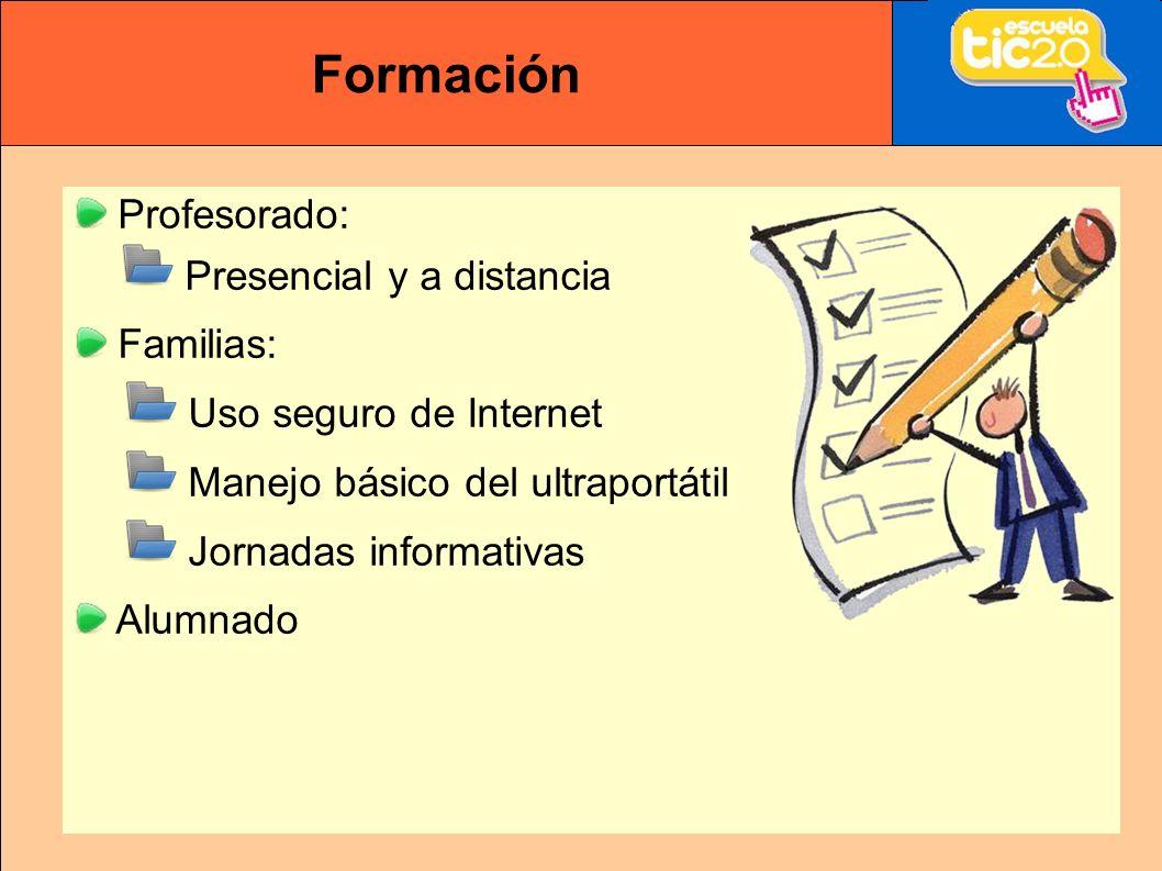 Formación Profesorado: Presencial y a distancia Familias: Uso seguro de Internet Manejo básico del ultraportátil Jornadas informativas Alumnado