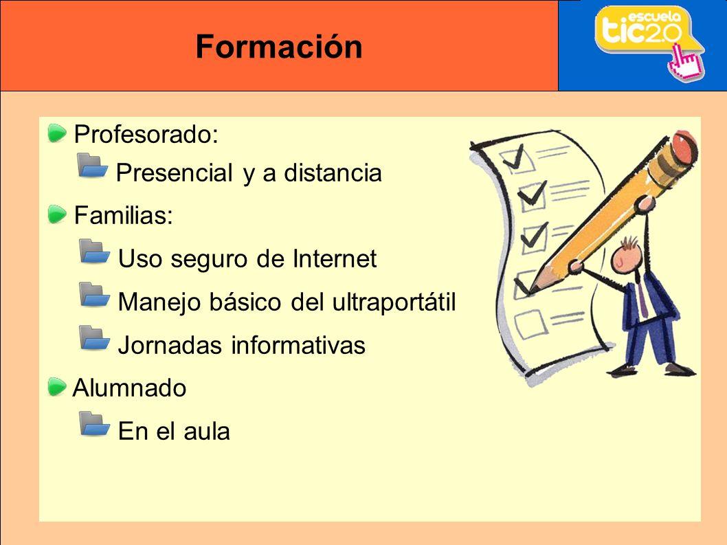 Formación Profesorado: Presencial y a distancia Familias: Uso seguro de Internet Manejo básico del ultraportátil Jornadas informativas Alumnado En el aula