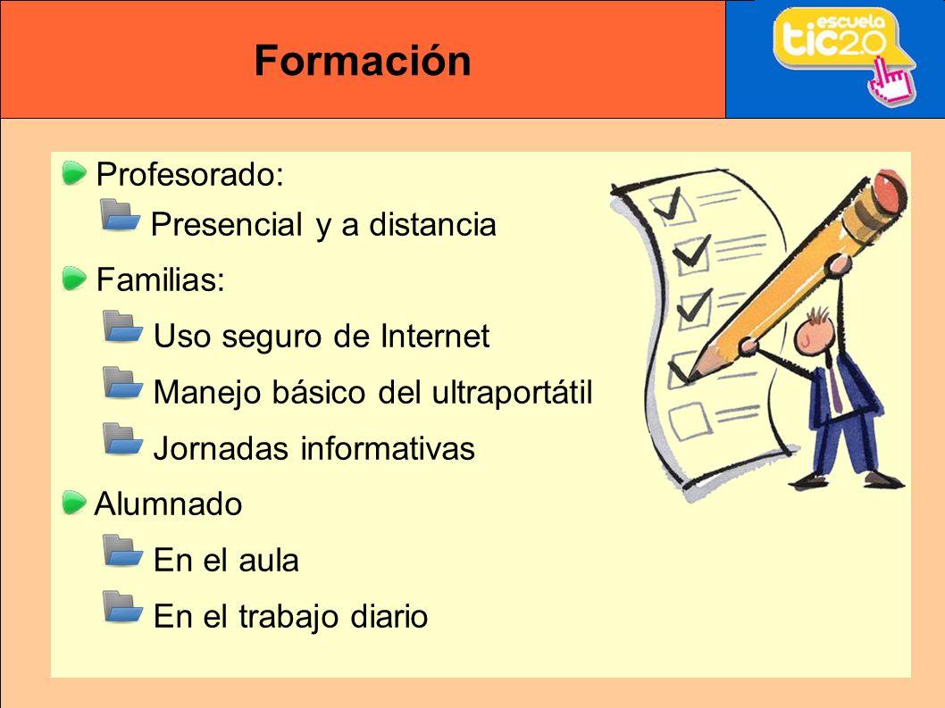 Formación Profesorado: Presencial y a distancia Familias: Uso seguro de Internet Manejo básico del ultraportátil Jornadas informativas Alumnado En el aula En el trabajo diario