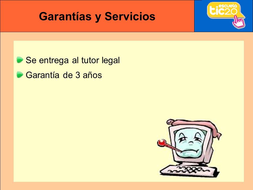 Garantías y Servicios Se entrega al tutor legal Garantía de 3 años
