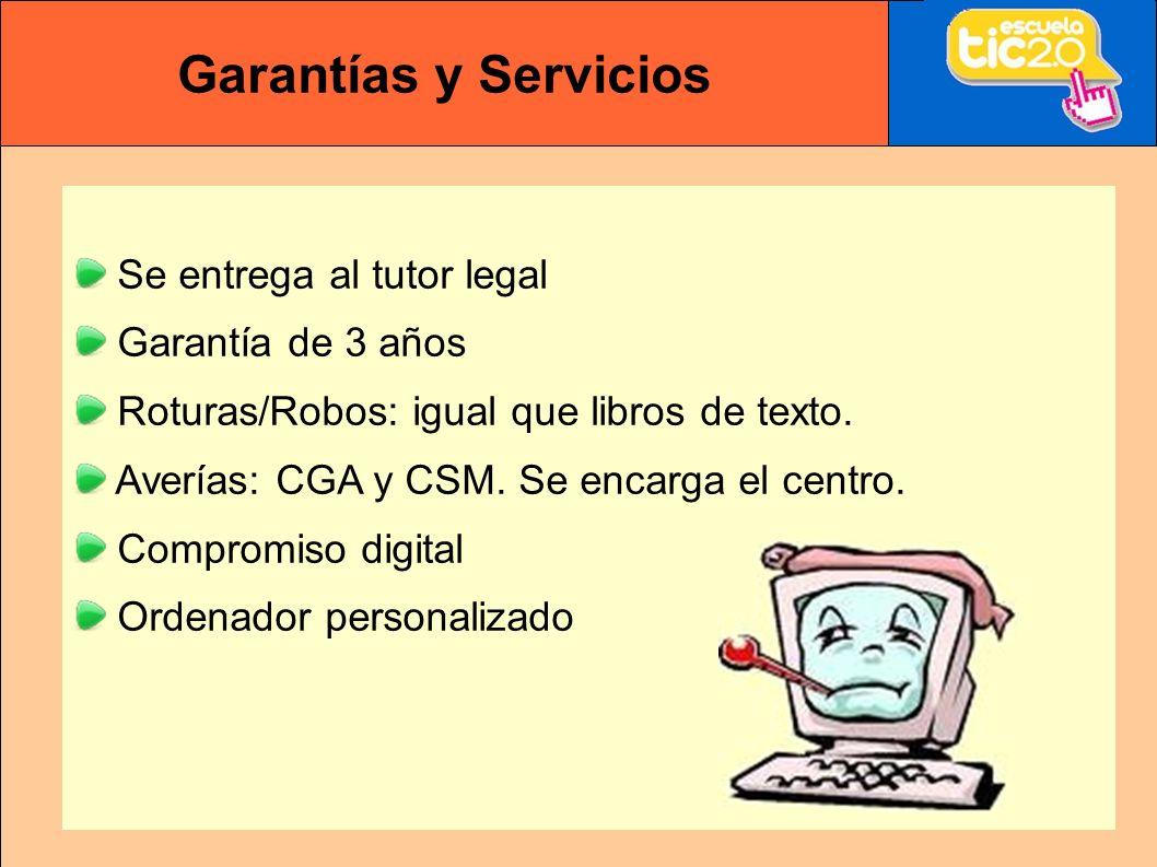 Garantías y Servicios Se entrega al tutor legal Garantía de 3 años Roturas/Robos: igual que libros de texto.