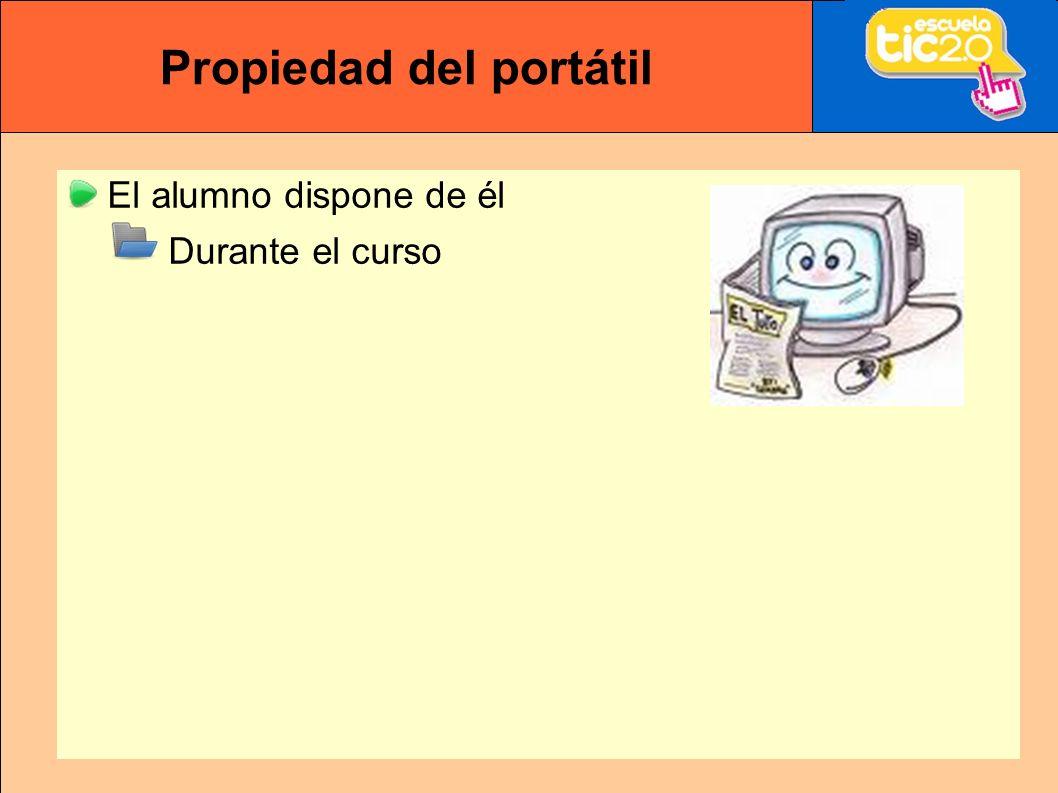 Propiedad del portátil El alumno dispone de él Durante el curso