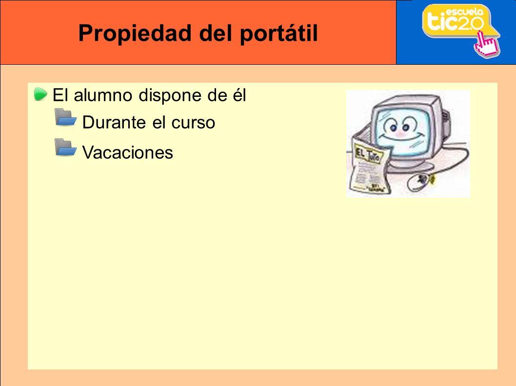 Propiedad del portátil El alumno dispone de él Durante el curso Vacaciones