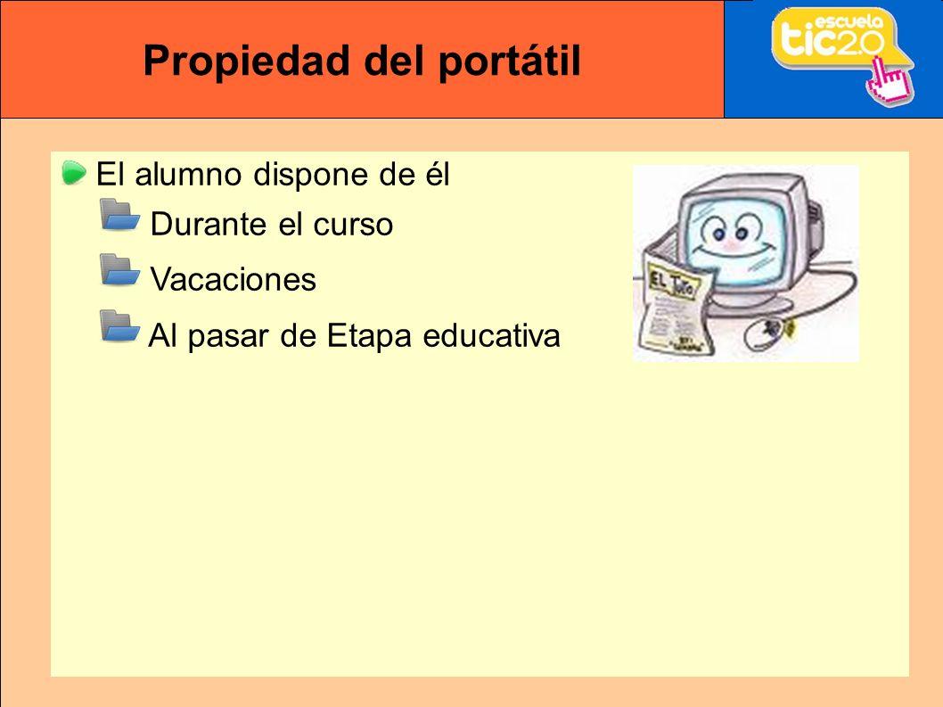 Propiedad del portátil El alumno dispone de él Durante el curso Vacaciones Al pasar de Etapa educativa