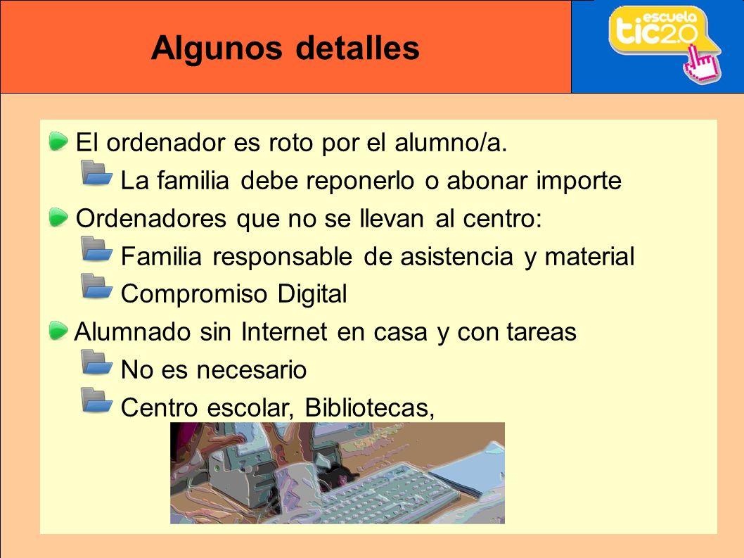 Algunos detalles El ordenador es roto por el alumno/a.