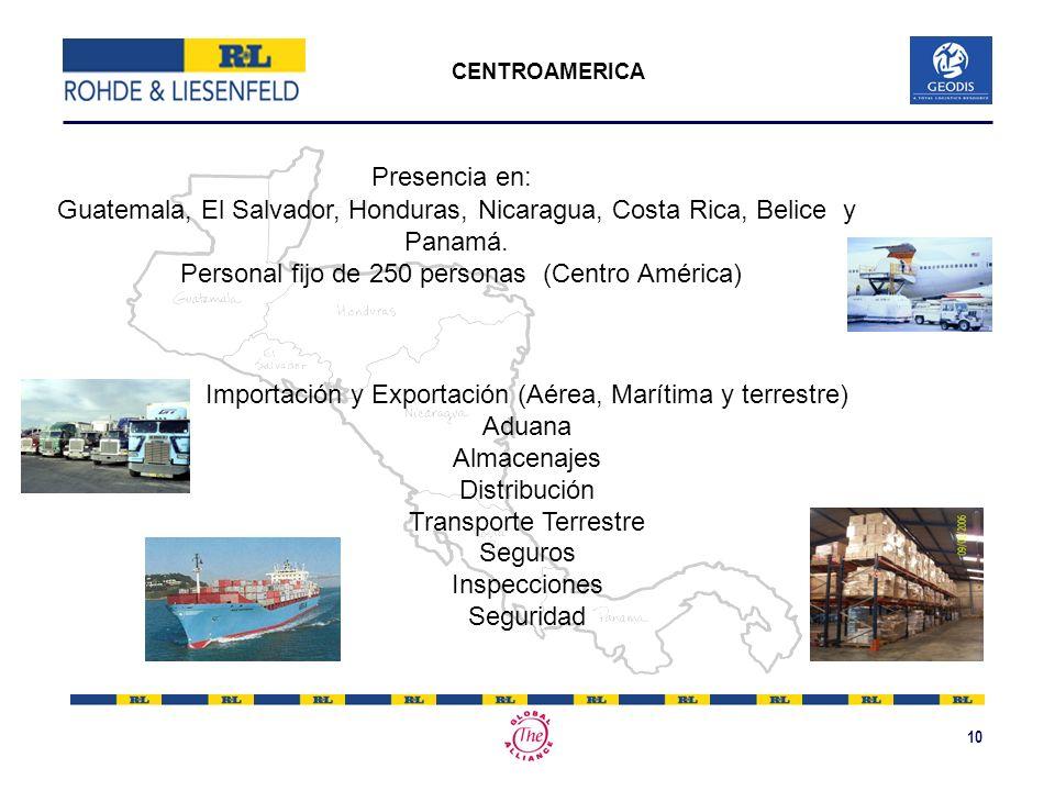 10 CENTROAMERICA Importación y Exportación (Aérea, Marítima y terrestre) Aduana Almacenajes Distribución Transporte Terrestre Seguros Inspecciones Seg