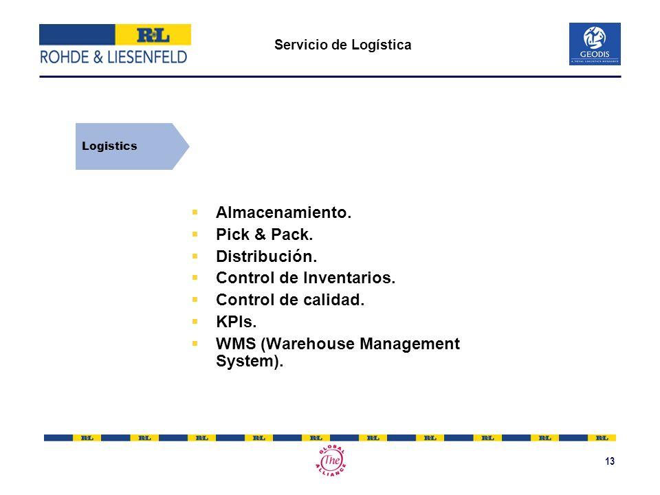 13 Servicio de Logística Almacenamiento. Pick & Pack. Distribución. Control de Inventarios. Control de calidad. KPIs. WMS (Warehouse Management System