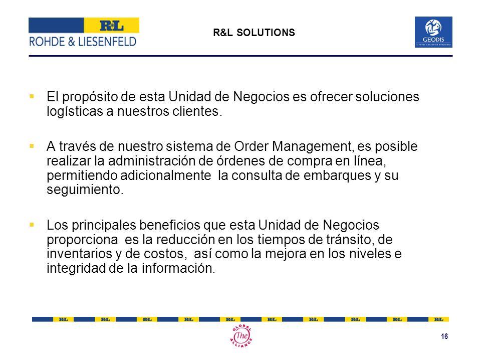 16 El propósito de esta Unidad de Negocios es ofrecer soluciones logísticas a nuestros clientes. A través de nuestro sistema de Order Management, es p