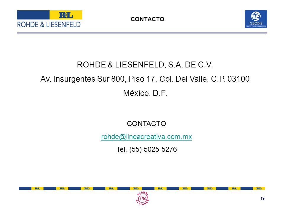19 CONTACTO ROHDE & LIESENFELD, S.A. DE C.V. Av. Insurgentes Sur 800, Piso 17, Col. Del Valle, C.P. 03100 México, D.F. CONTACTO rohde@lineacreativa.co