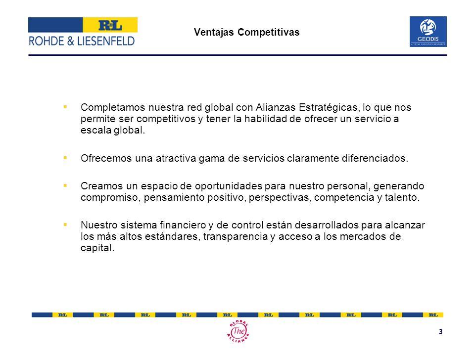 3 Ventajas Competitivas Completamos nuestra red global con Alianzas Estratégicas, lo que nos permite ser competitivos y tener la habilidad de ofrecer