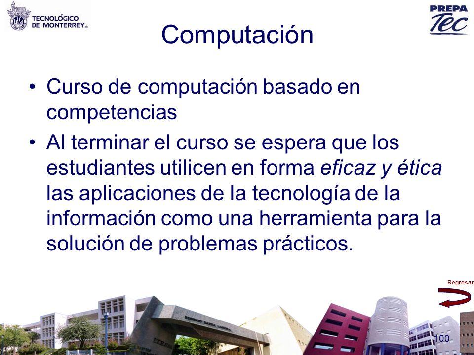 Regresar 100 Computación Curso de computación basado en competencias Al terminar el curso se espera que los estudiantes utilicen en forma eficaz y éti