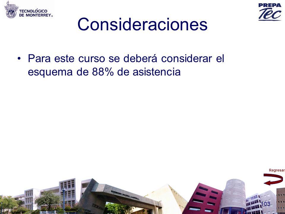 Regresar 103 Consideraciones Para este curso se deberá considerar el esquema de 88% de asistencia