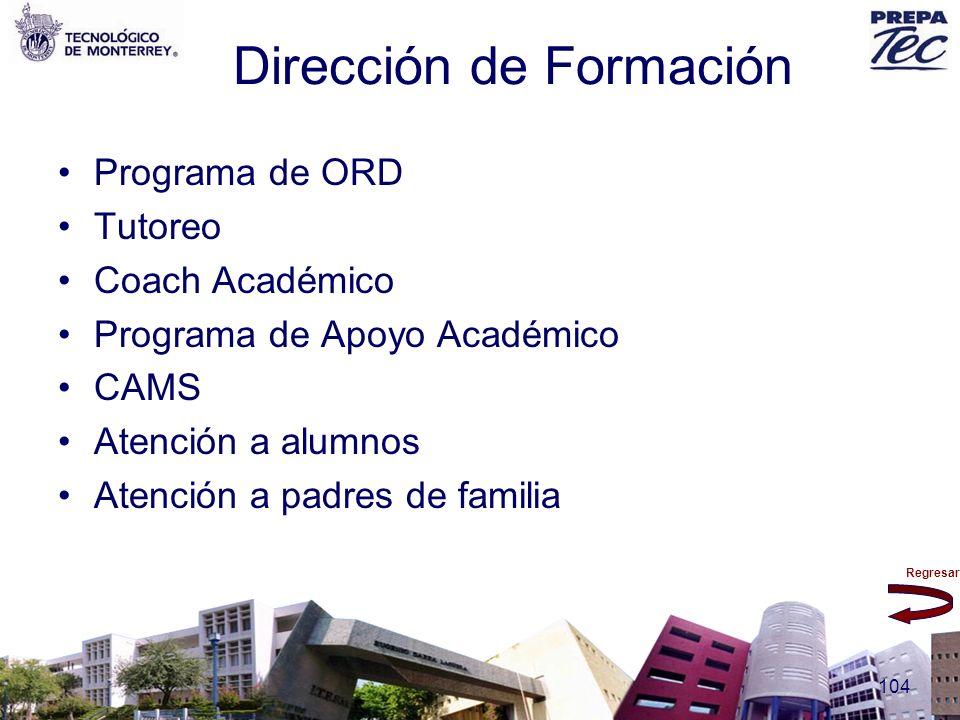 Regresar 104 Dirección de Formación Programa de ORD Tutoreo Coach Académico Programa de Apoyo Académico CAMS Atención a alumnos Atención a padres de f