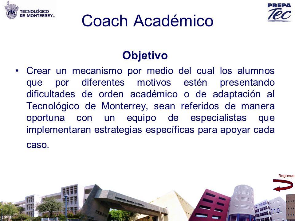 Regresar 110 Coach Académico Objetivo Crear un mecanismo por medio del cual los alumnos que por diferentes motivos estén presentando dificultades de o