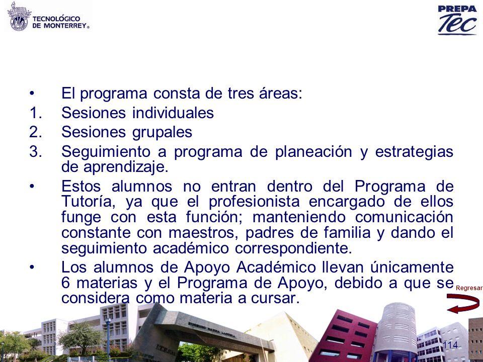 Regresar 114 El programa consta de tres áreas: 1.Sesiones individuales 2.Sesiones grupales 3.Seguimiento a programa de planeación y estrategias de apr