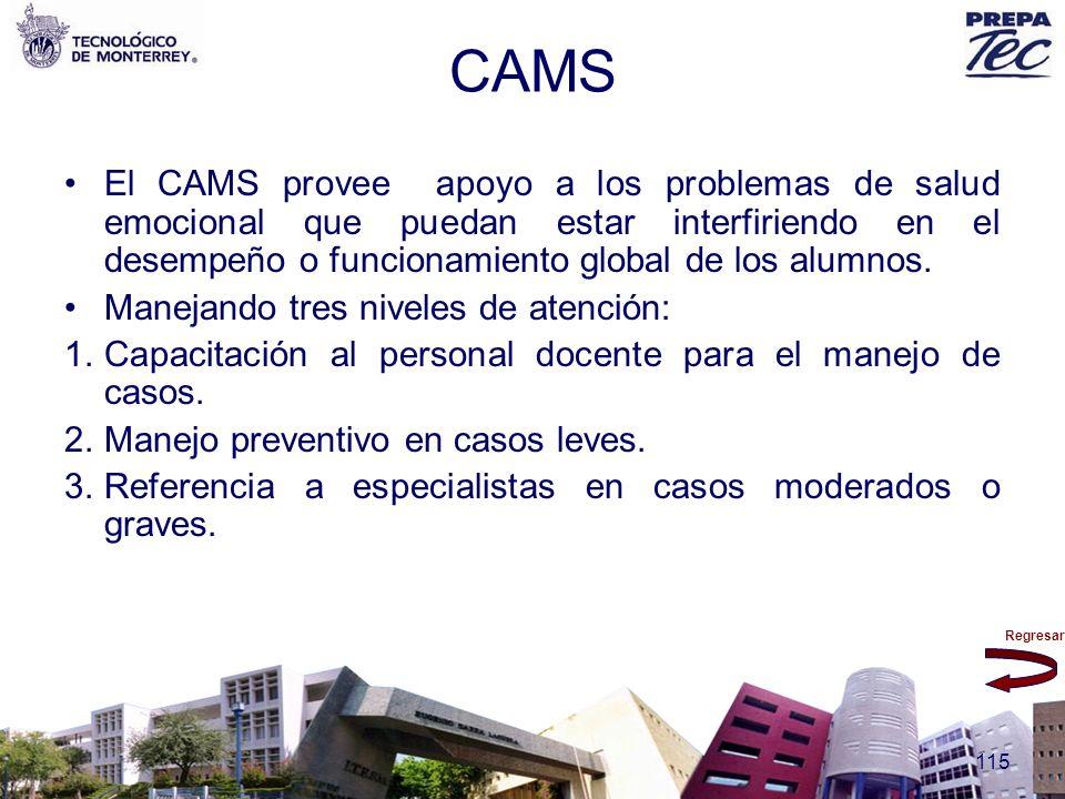 Regresar 115 CAMS El CAMS provee apoyo a los problemas de salud emocional que puedan estar interfiriendo en el desempeño o funcionamiento global de lo