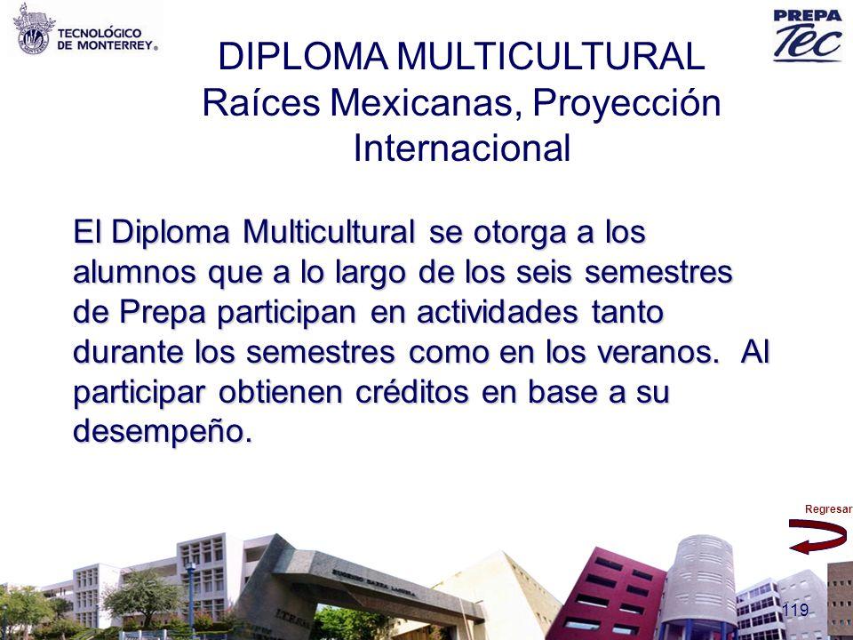 Regresar 119 DIPLOMA MULTICULTURAL Raíces Mexicanas, Proyección Internacional El Diploma Multicultural se otorga a los alumnos que a lo largo de los s