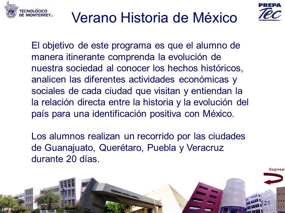Regresar 121 Verano Historia de México El objetivo de este programa es que el alumno de manera itinerante comprenda la evolución de nuestra sociedad a