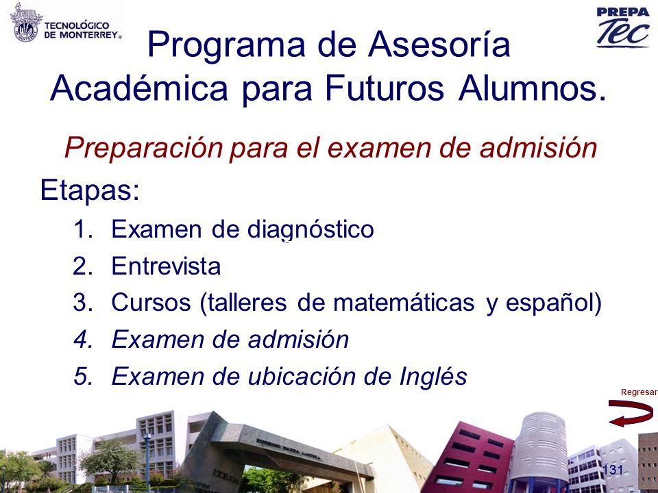 Regresar 131 Programa de Asesoría Académica para Futuros Alumnos. Preparación para el examen de admisión Etapas: 1.Examen de diagnóstico 2.Entrevista