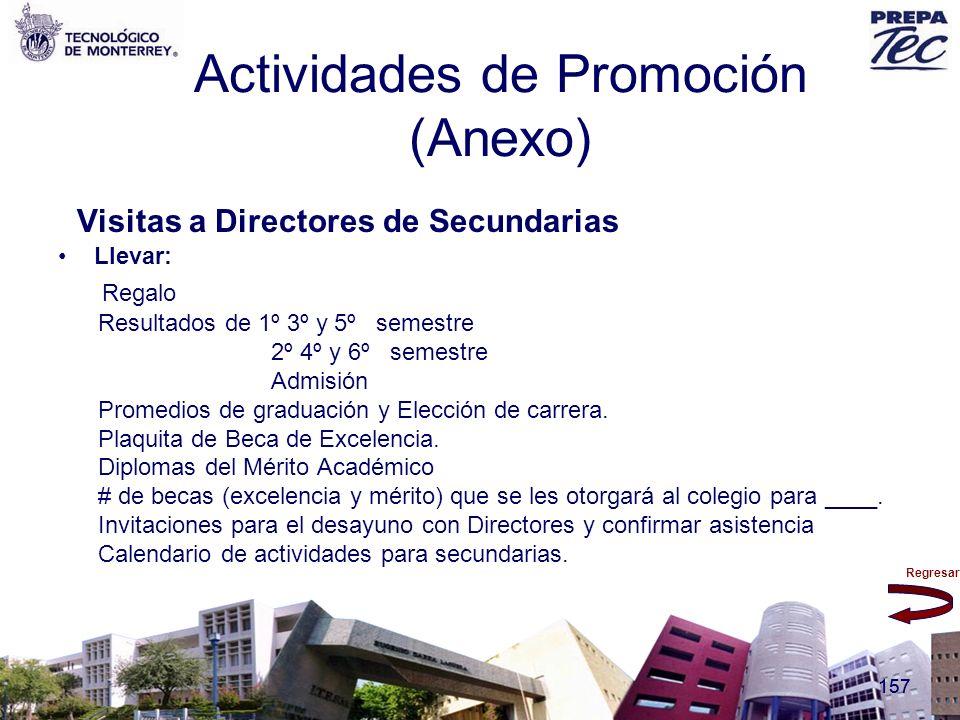 Regresar 157 Actividades de Promoción (Anexo) Visitas a Directores de Secundarias Llevar: Regalo Resultados de 1º 3º y 5º semestre 2º 4º y 6º semestre