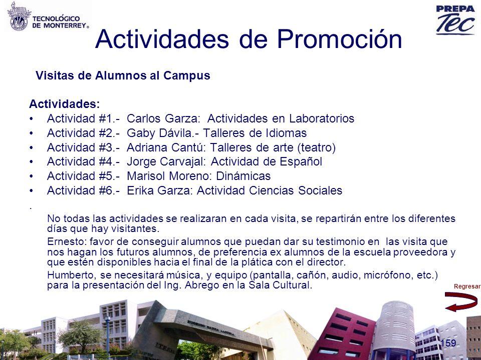 Regresar 159 Actividades de Promoción Visitas de Alumnos al Campus Actividades: Actividad #1.- Carlos Garza: Actividades en Laboratorios Actividad #2.