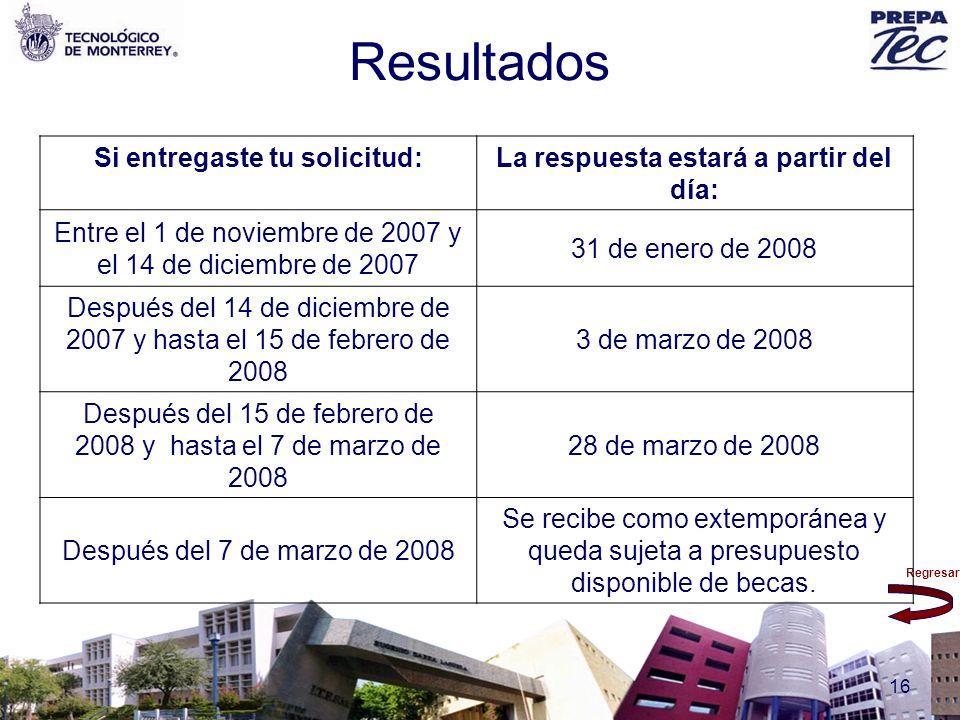 Regresar 16 Resultados Si entregaste tu solicitud:La respuesta estará a partir del día: Entre el 1 de noviembre de 2007 y el 14 de diciembre de 2007 3