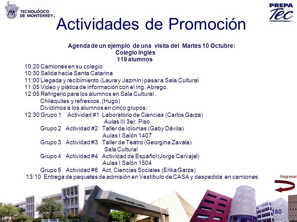 Regresar 160 Actividades de Promoción Agenda de un ejemplo de una visita del Martes 10 Octubre: Colegio Inglés 119 alumnos 10:20 Camiones en su colegi