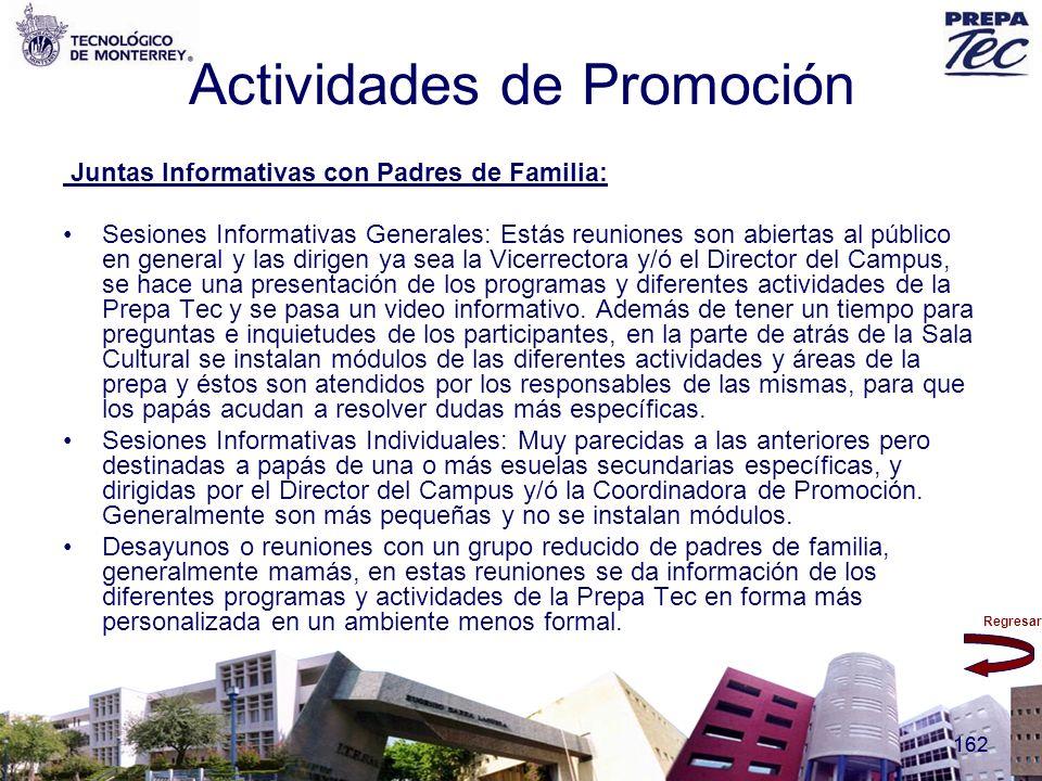 Regresar 162 Actividades de Promoción Juntas Informativas con Padres de Familia: Sesiones Informativas Generales: Estás reuniones son abiertas al públ