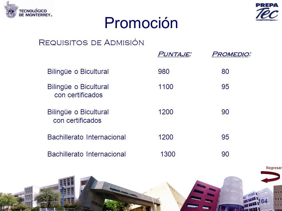 Regresar 164 Promoción Requisitos de Admisión Puntaje: Promedio: Bilingüe o Bicultural980 80 Bilingüe o Bicultural 1100 95 con certificados Bilingüe o