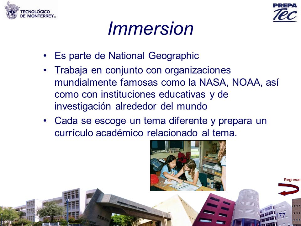 Regresar 177 Immersion Es parte de National Geographic Trabaja en conjunto con organizaciones mundialmente famosas como la NASA, NOAA, así como con in