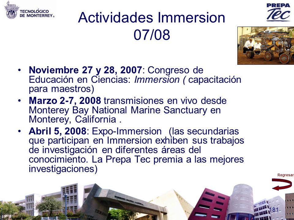 Regresar 181 Actividades Immersion 07/08 Noviembre 27 y 28, 2007: Congreso de Educación en Ciencias: Immersion ( capacitación para maestros) Marzo 2-7