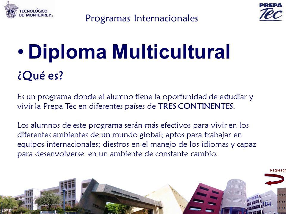 Regresar 184 Programas Internacionales Diploma Multicultural ¿Qué es? Es un programa donde el alumno tiene la oportunidad de estudiar y vivir la Prepa