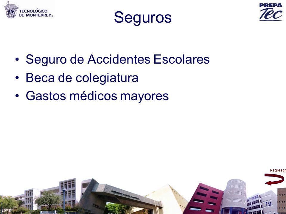 Regresar 19 Seguros Seguro de Accidentes Escolares Beca de colegiatura Gastos médicos mayores