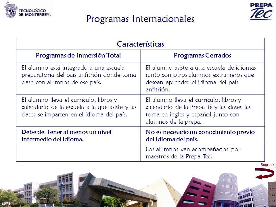Regresar Programas Internacionales Características Programas de Inmersión TotalProgramas Cerrados El alumno está integrado a una escuela preparatoria