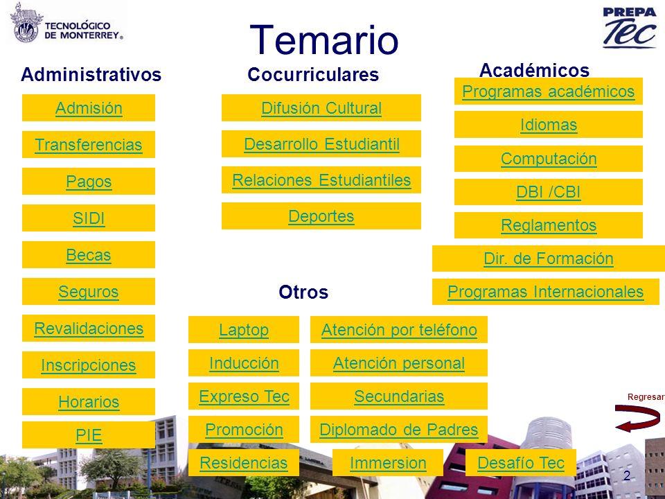 Regresar 2 Temario Transferencias Admisión Secundarias Académicos CocurricularesAdministrativos Otros Atención por teléfono Atención personal Expreso