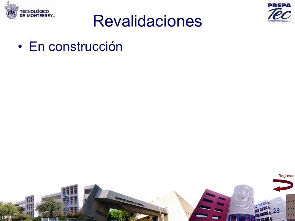Regresar 28 Revalidaciones En construcción