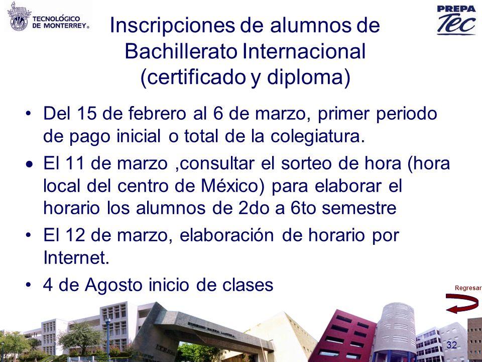 Regresar 32 Inscripciones de alumnos de Bachillerato Internacional (certificado y diploma) Del 15 de febrero al 6 de marzo, primer periodo de pago ini
