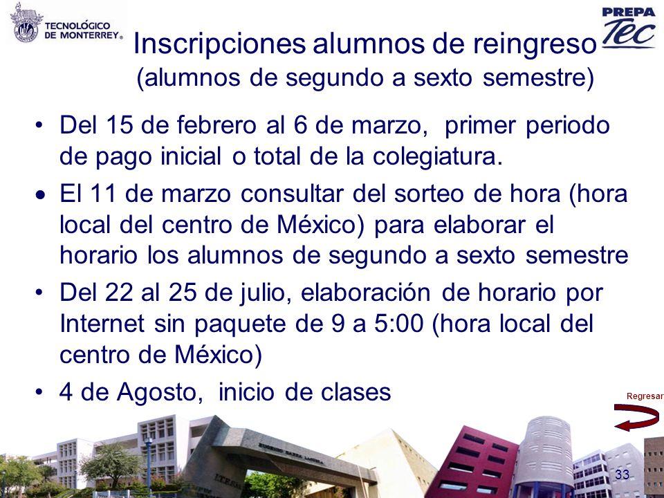 Regresar 33 Inscripciones alumnos de reingreso (alumnos de segundo a sexto semestre) Del 15 de febrero al 6 de marzo, primer periodo de pago inicial o