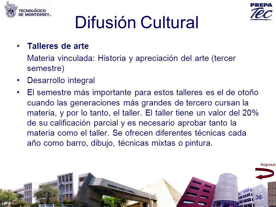 Regresar 36 Difusión Cultural Talleres de arte Materia vinculada: Historia y apreciación del arte (tercer semestre) Desarrollo integral El semestre má