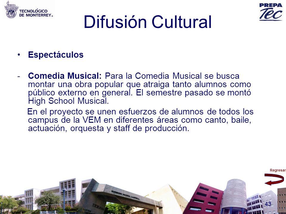 Regresar 43 Difusión Cultural Espectáculos -Comedia Musical: Para la Comedia Musical se busca montar una obra popular que atraiga tanto alumnos como p