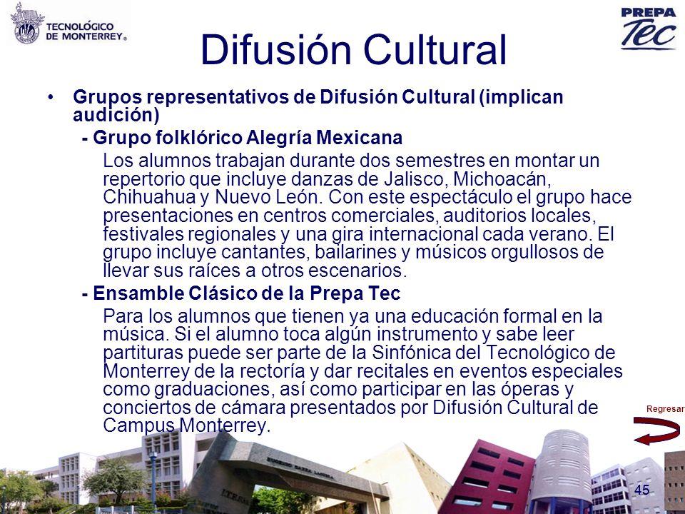 Regresar 45 Difusión Cultural Grupos representativos de Difusión Cultural (implican audición) - Grupo folklórico Alegría Mexicana Los alumnos trabajan