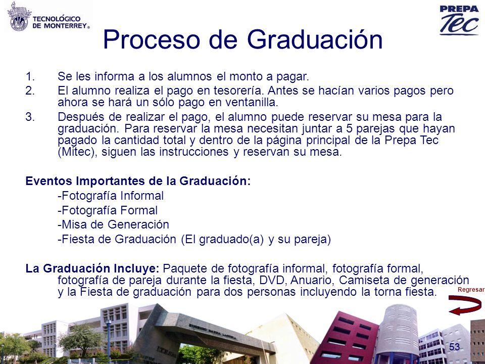Regresar 53 Proceso de Graduación 1.Se les informa a los alumnos el monto a pagar. 2.El alumno realiza el pago en tesorería. Antes se hacían varios pa